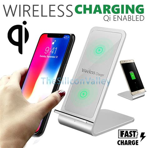 fast qi wireless charger stand charging dock pad for samsung note s8 iphone x 8 ebay