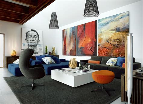 eclectic living room design living room with eclectic artwork png