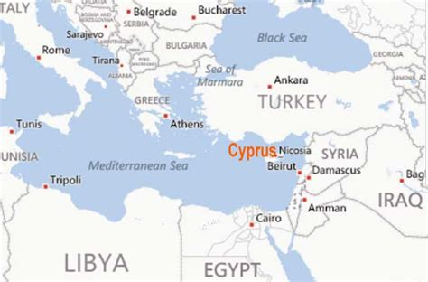 Cyprus World Map by Cyprus Location Where Is Cyprus North Cyprus Landform