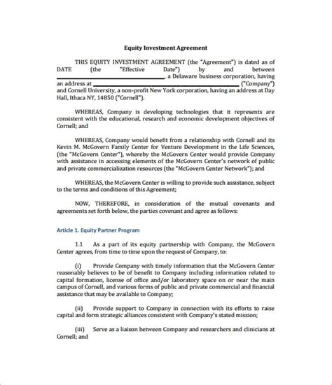 investment contract template free investor agreement template beepmunk