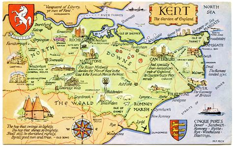 printable map kent postcard map of kent the garden of england flickr