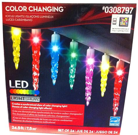 color changing icicle lights gemmy lightshow 24 count led color changing icicle