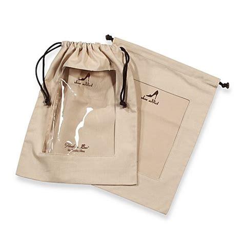 Set Of 2 Shoe Bag clear peek a boo window khaki shoe bags set of 2 bed