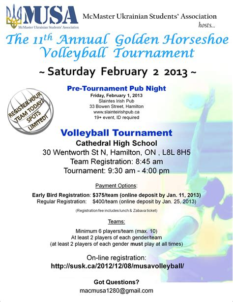 Invitation Letter Mcmaster Musa S 11th Annual Golden Horseshoe Tournament And Zabava Susk Ukrainian Canadian