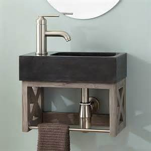 Sink Wall Mounted Vanity by 16 Quot Ansel Teak Wall Mount Vanity With Towel Bar