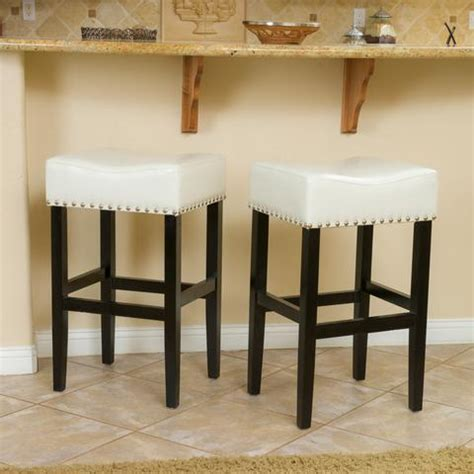 Chantal Backless Ivory Leather Counter Stool W Nailhead Accents by Indoor Bar Counter Stools Gdf Studio