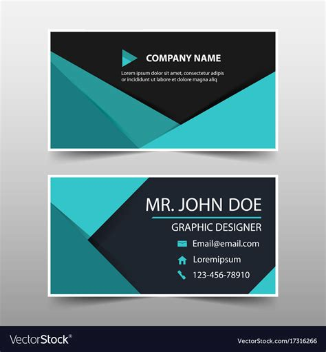 green business card template vector green corporate business card name card template vector image
