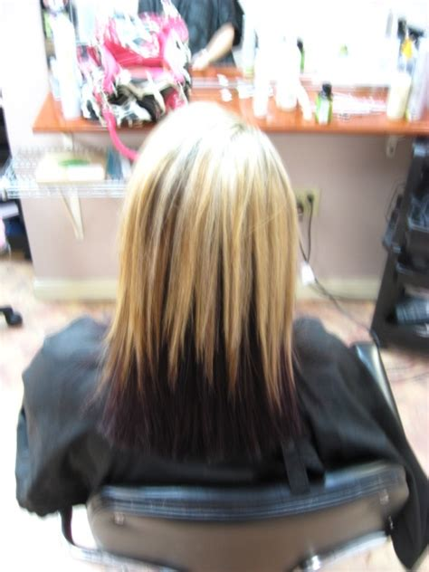 blonde hairstyles black underneath blonde and dark purple underneath hair styles pinterest
