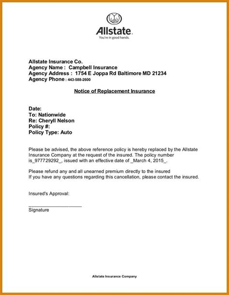 cancellation letter for insurance insurance cancellation letter letter format template