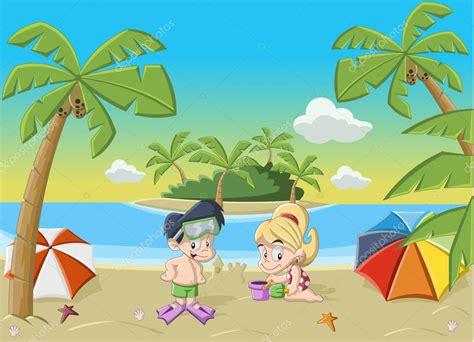 imagenes de niños jugando en la playa ni 241 os jugando en la playa tropical vector de stock