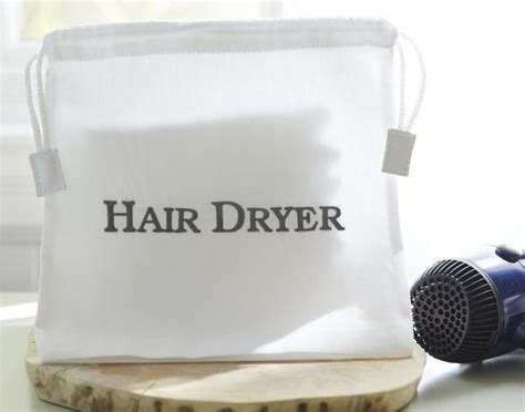 Hair Dryer Bag White vacation rental hospitality supplies hair dryer bag the distinguished guest