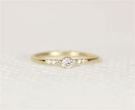 14k solid yellow gold engagement ring simple