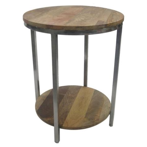 steel accent table berwyn end table metal and wood rustic brown threshold