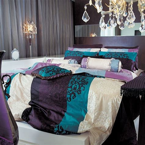 black damask turquoise purple duvet set king new