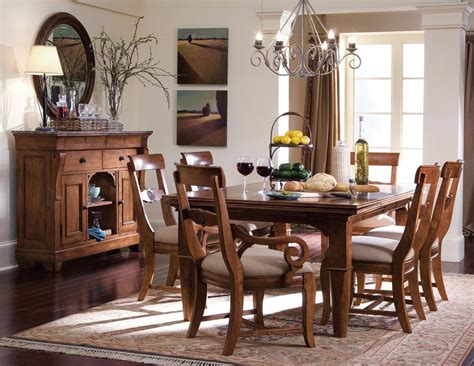 kincaid tuscano solid wood refectory leg table dining set