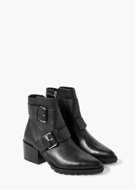 buckle ankle boots lyst mango buckle leather ankle boots in black