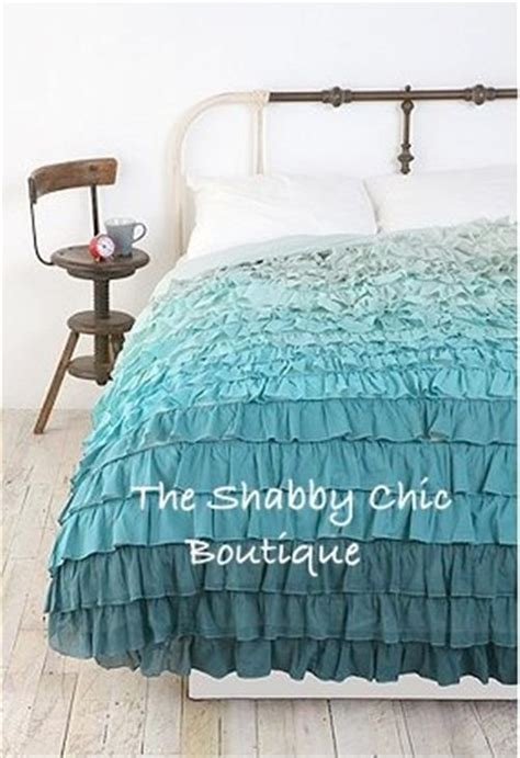 teal ruffle bedding shabby beach cottage chic green teal queen ruffles duvet