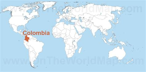 colombia on a world map colombia on the world map colombia on the south america map