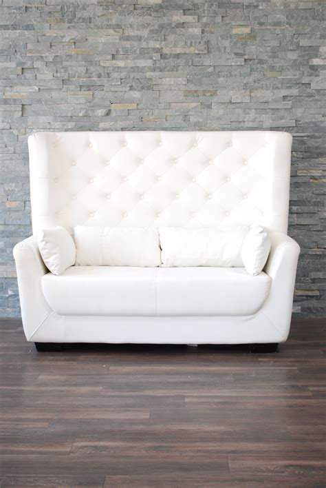 high back tufted sofa white leather high back tufted seat platinum event