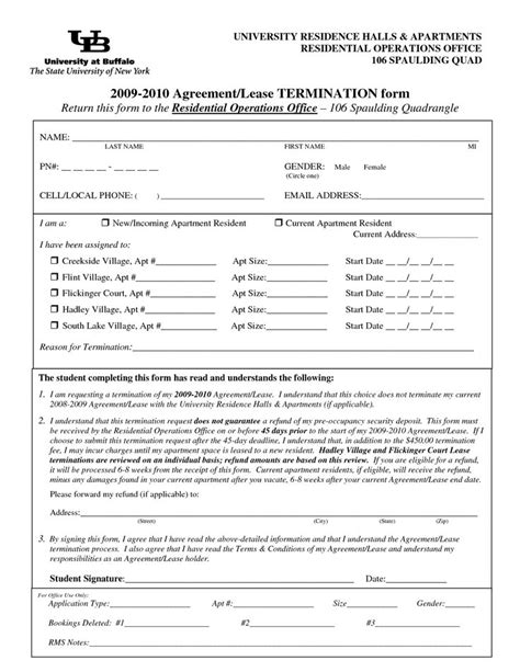 Early Lease Termination Letter Ontario Lease Termination Forms By Jessicaderusso Termination Of Lease Agreement Form