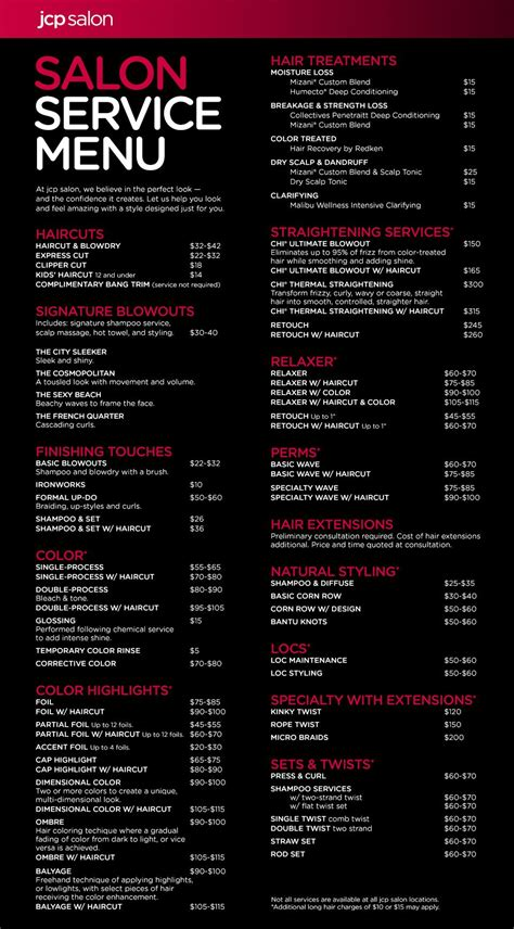 Jcp Salon Located Inside Jcpenney Service Menu Business Pinterest Salons Salon Menu And Salon Service Menu Template