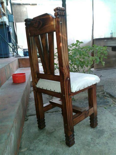 silla rustica tapizada de madera  comedor  en mercado libre
