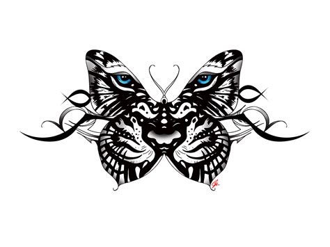 tiger butterfly tattoo white tiger butterfly with tribal accent back