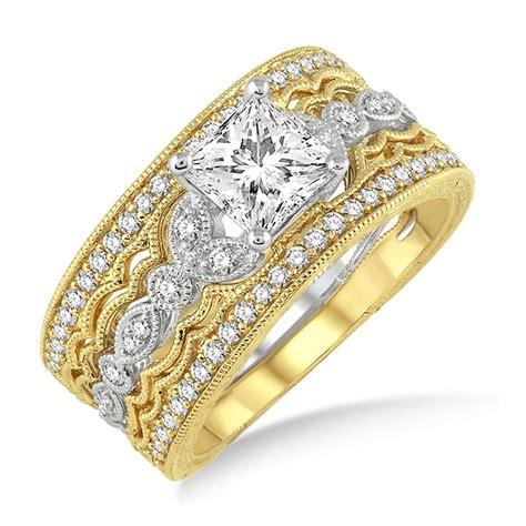 1.50 Carat Antique Trio Bridal Set Engagement Ring with