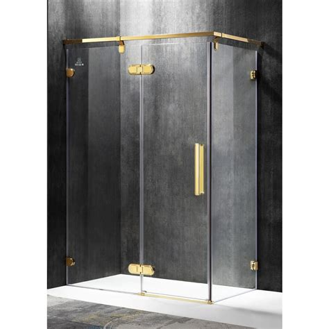 Gold Shower Doors Anzzi Sultan 55 51 In X 78 74 In Semi Frameless Corner Hinged Shower Door In Gold Sd Az21gd L