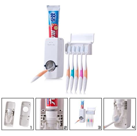 Termurah Automatic Toothpaste Dispenser auto automatic toothpaste dispenser 5 toothbrush holder wall mount stand