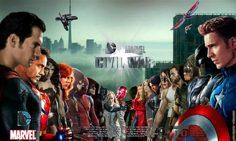 Dc Search Civil Dc Marvel Civil War Banner Heroes Lined Up Fanmade By Mrvideo Vidman On Deviantart