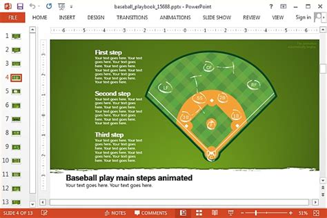 layout animation exle animated baseball template for powerpoint