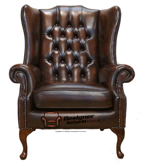leather wing armchair chesterfield mallory large high back wing fireside