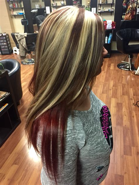 images of vlonde highlights with dark underneath chunky blonde highlights with red brown base and bright