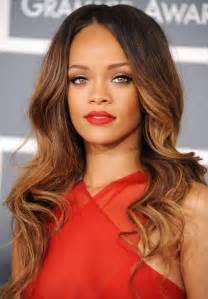 Rihanna caramel ombre hair hair color trend sombre