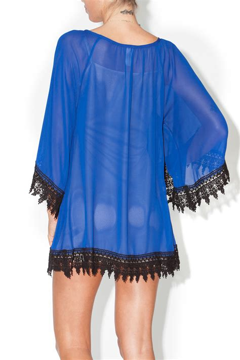 Bj 9653 Blue Lace Trim Jumpsuit pad royal blue tunic dress from oklahoma by