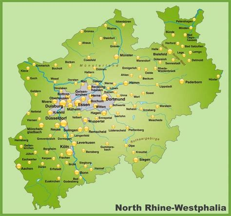 rhine germany map map of rhine westphalia with cities and towns