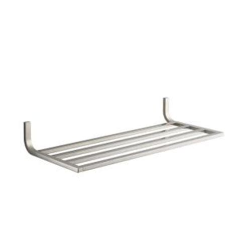 brushed nickel bathroom shelf kohler loure 11 in w wall mounted hotelier bathroom shelf