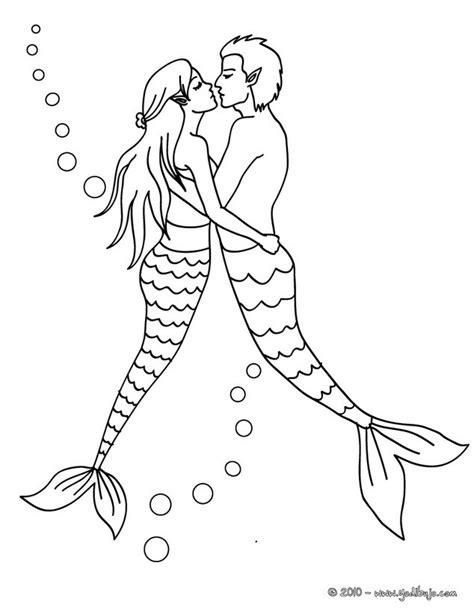 imagenes de sirenas para dibujar a lapiz dibujos para colorear una pareja de sirenas es hellokids com