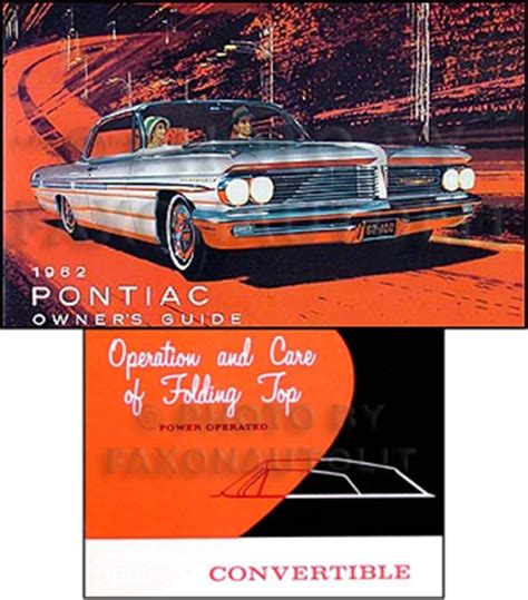 vehicle repair manual 1965 pontiac bonneville parking system 1962 pontiac convertible owner s manual set bonneville catalina