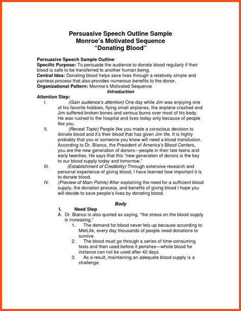 College Persuasive Essays by Persuasive Speech Outline Template Program Format