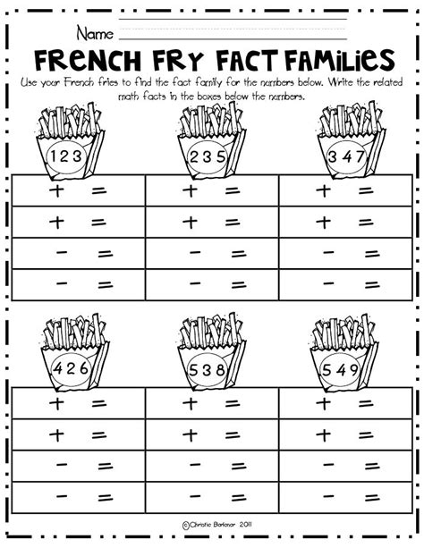 first grade information families of fact french fry fact families math center pdf first grade