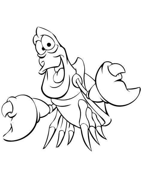 Sebastian Coloring Pages sebastian lobster from mermaid coloring page h