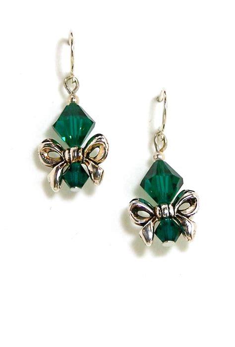 Bow Swarovski Earrings bow earrings green swarovski bow