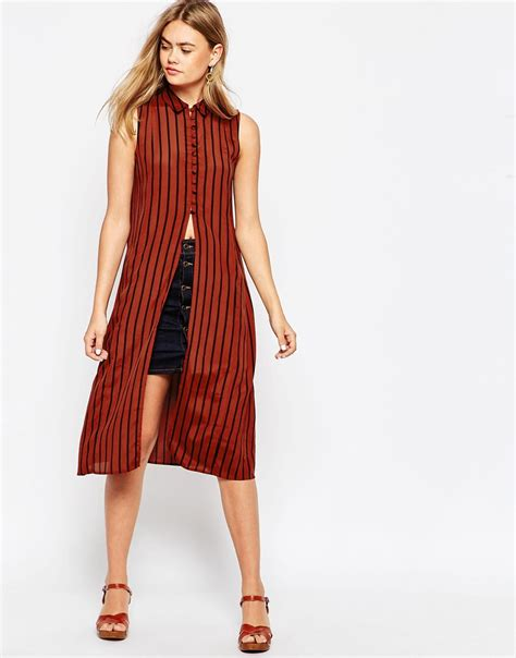 Maxi Blouse lyst asos sleeveless longline maxi blouse in tobacco and