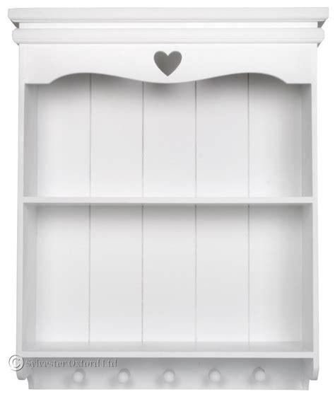 white shabby chic wall shelf unit