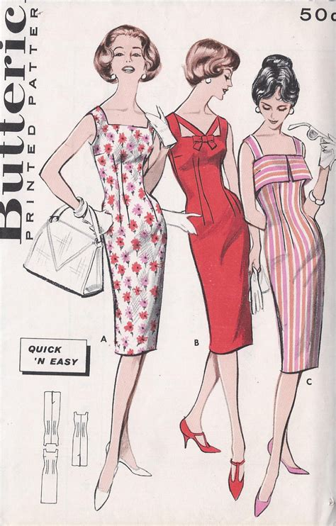 vintage patterns 1950s a 1849940940 vintage 1950 s wiggle dress pattern three necklines