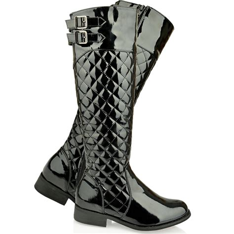 womens flat knee high quilted calf boots