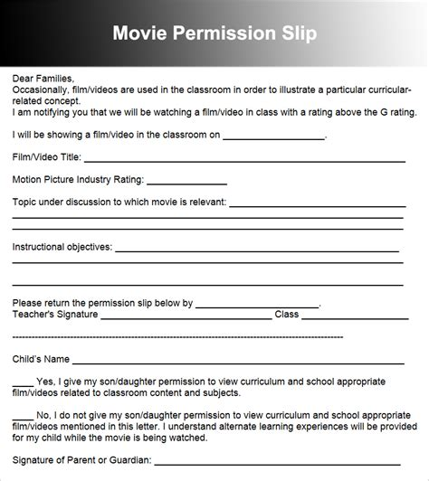 36 permission slip templates free pdf doc formats