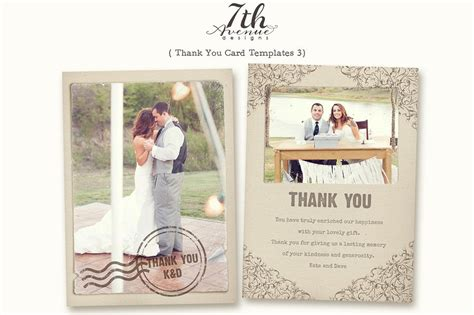 wedding thank you cards templates thank you card 3 card templates creative market